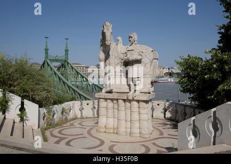 Statue of Saint Stephen Kiraly near Liberty bridge, Budapest, Hungary - Stock Photo