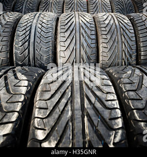 Used old car tires or junk detail pattern, background or texture - Stock Photo