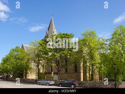 13th century Dornoch Cathedral. Royal Burgh of Dornoch, Sutherland, Highland, Scotland, UK, Britain - Stock Photo