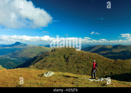 Ben Lomond and The Brack from Ben Donich, the Arrochar Alps, Loch Lomond and the Trossachs National Park, Argyll - Stock Photo