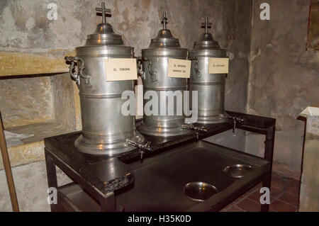 Consecrated sacramental holy oils in chrismatory dispensers in the crypt of Trier cathedral, Trier, Rheinland-Pfalz, - Stock Photo