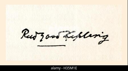 Signature of Rudyard Kipling.  Joseph Rudyard Kipling, 1865 – 1936.  English journalist, short-story writer, poet, - Stock Photo