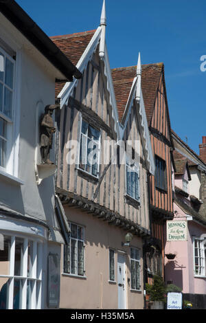 Detail of 15th century buildings in the town of Lavenham, once one of the wealthiest in England, Suffolk, UK. - Stock Photo