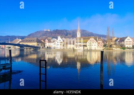 View of the village and the Rhine River, in Stein am Rhein, Switzerland - Stock Photo