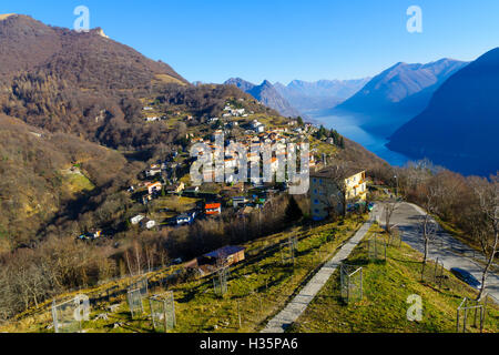 View of the village of Bre, on top of Monte Bre. Ticino, Switzerland - Stock Photo