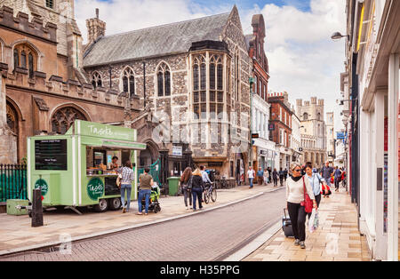 Shopping in Market Street, Cambridge, Cambridgeshire, England, UK - Stock Photo