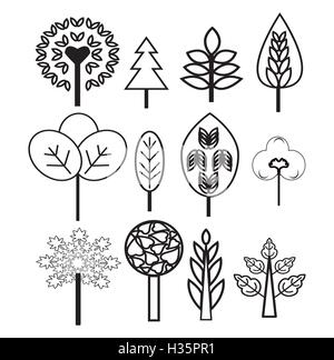 Plants and Trees nature set icons - Stock Photo