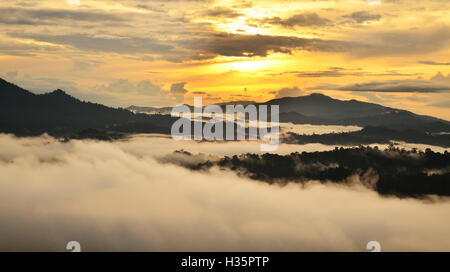 Sunrise over dipterocarp rain forest in Danum Valley Conservation Area in Lahad Datu, Sabah Borneo, Malaysia. - Stock Photo