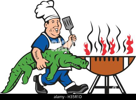 cartoon crocodile bbq stock photo 93367693 alamy