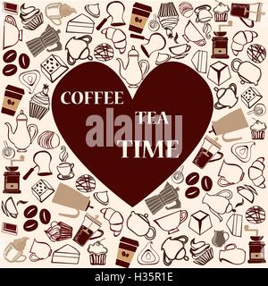 Cofffe and tea time  cute seamless pattern - Stock Photo