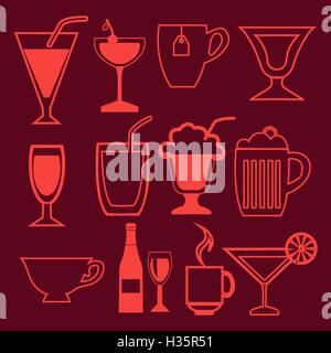 bar and drinks icons set in linear style - Stock Photo