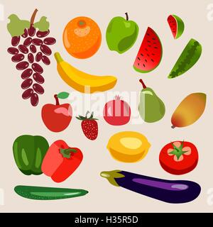 Vector collection of fruits and vegetables. - Stock Photo