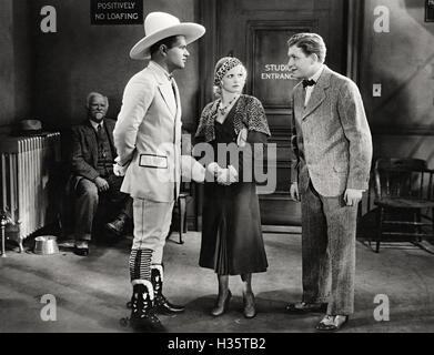MAKE ME A STAR 1932 Paramount film with from left Buddy Roosevelt, Polly Walters, Stuart Erwin - Stock Photo