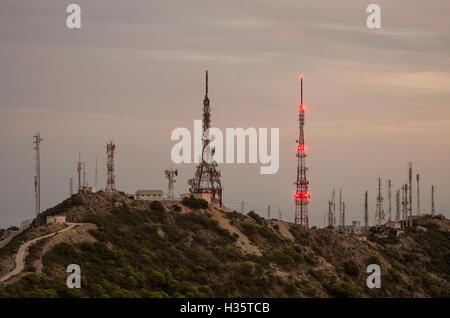 Communications masts, aerials, antennae above Mijas, Costa del Sol, Malaga Province, Spain. - Stock Photo