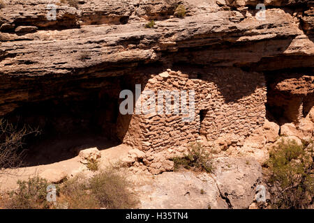 Closeup of living quarters at Montezuma Well.  Set in the cliff side surrounding the lake of fresh potable water, - Stock Photo
