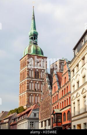 Bell tower of Saint Nicholas' church at Stralsund, Mecklenburg-Western Pomerania, GErmany - Stock Photo