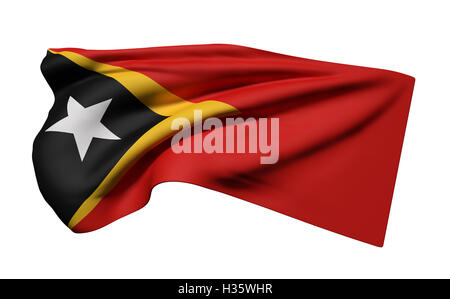 3d rendering of Democratic Republic of Timor-Leste flag waving on white background - Stock Photo