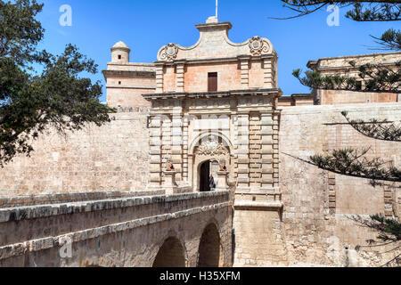 city gate of Mdina, Malta - Stock Photo