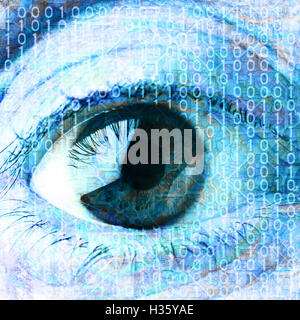 eye and binary digits - Stock Photo