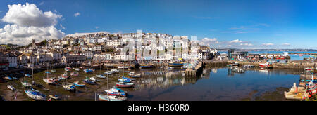 GB - DEVON: Brixham Harbour with Torbay showing in background - Stock Photo