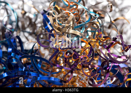color shavings after turning - abstract industrial background - Stock Photo