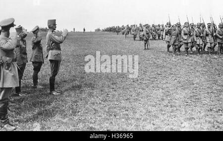 Parade of Ukrainian troops in front of Austrian officers, 1918 - Stock Photo