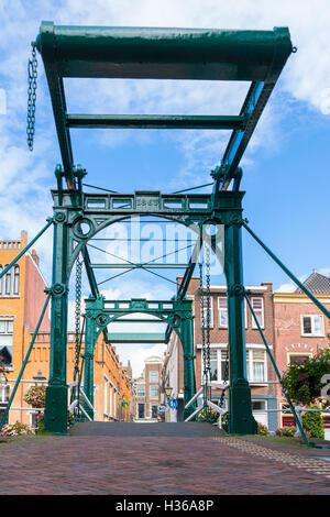 Drawbridge Kerkbrug over Old Rhine canal in old town of Leiden, South Holland, Netherlands - Stock Photo