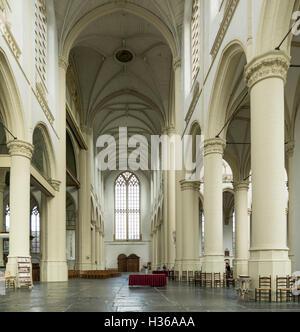 Gothic interior of Hooglandse kerk church in downtown Leiden, South Holland, Netherlands - Stock Photo