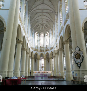 Gothic interior of Hooglandsekerk church in downtown Leiden, South Holland, Netherlands - Stock Photo