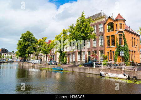 Rapenburg canal in old town of Leiden, South Holland, Netherlands - Stock Photo