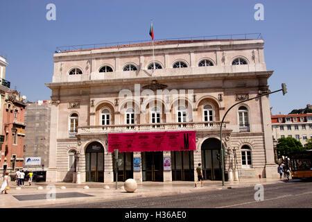 Side view of Teatro Nacional Dona Maria II Rossio Square Lisbon Portugal - Stock Photo