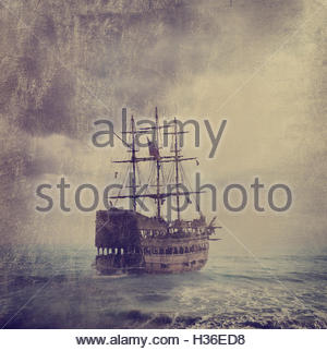 Old Pirate Ship - Stock Photo