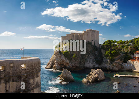 Fort Lovrijenac and Fort Bokar guarding the northern approaches to the town, from the city walls, Dubrovnik, Croatia - Stock Photo