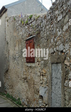 Senj, Croatia, September 16, 2016: old city. A small town in northern Croatia. Old wall with the closed window. - Stock Photo