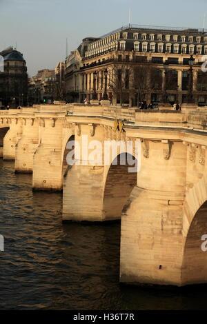 Pont Neuf Bridge (New Bridge) the oldest bridge over River Seine at sunset.Paris.France - Stock Photo