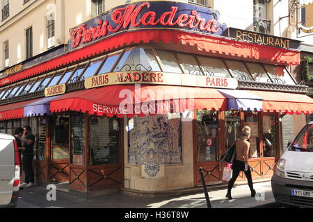 A typical traditional looking Parisian Brasserie at 9th arrondissement. Paris. France - Stock Photo
