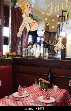 The interior view of famous Le Roi du Pot Au Feu, a traditional French style beef stew restaurant in Paris.Pari.France - Stock Photo
