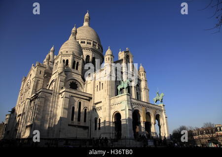A closed up view of Basilica of the Sacre Coeur in Montmartre.Paris.France - Stock Photo