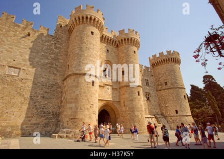 Entrance to the Palace of the Grand Master of Rhodes, Rhodes Island, Dodecanese Islands, Greece. - Stock Photo