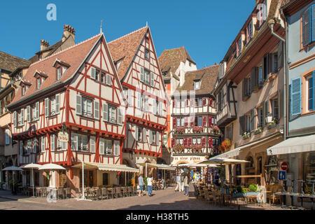 Old Buildings in Place du Marche-aux-Fruits, Colmar, Alsace, France - Stock Photo