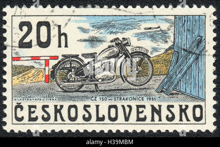 A postage stamp printed in Czechoslovakia, shows Old motorcycle 1951,  circa 1976 - Stock Photo