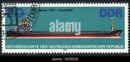 A postage stamp printed in DDR, shows Cargo ship Weimar, from series ocean ships,  1982 - Stock Photo