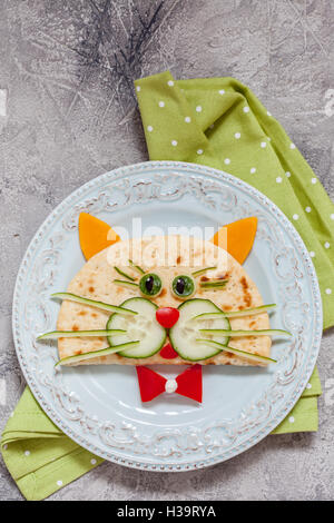 breakfast for kids with cat quesadilla - Stock Photo