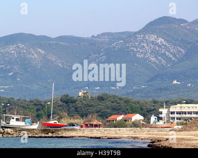 View of Mount Pantokrator from Astrakeri Beach, Corfu, Greece - Stock Photo