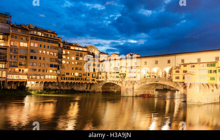 View at Bridge Ponte Vecchio by night in Florence, Italy - Stock Photo