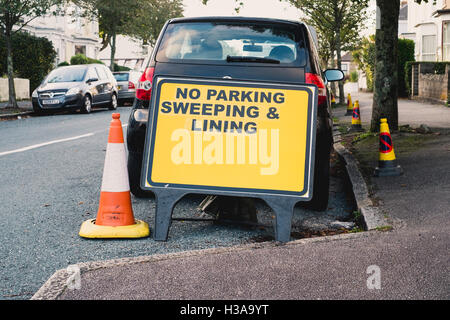 No parking enforcement notice  to allow for lining and sweepting road in Falmouth, Cornwall - Stock Photo