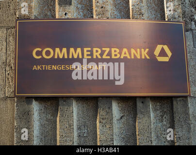 sign at the building of the Commerzbank Dusseldorf. - Stock Photo