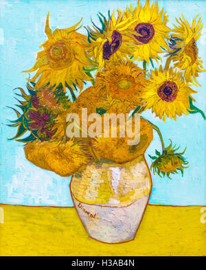 Sunflowers by Vincent van Gogh (1853-1890), oil on canvas, 1888, - Stock Photo