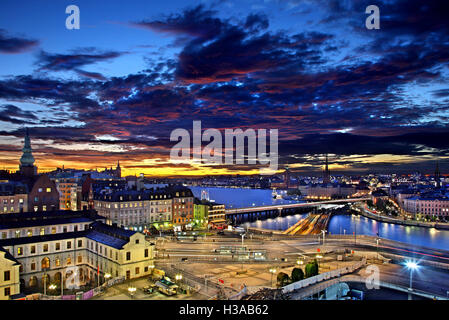 View of Stockholm, the capital of Sweden from Sodermalm. To the right you can see part of the old town (Gamla Stan)