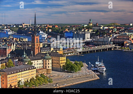 The bridges that connect Gamla Stan and Riddarholmen with Sodermalm, Stockholm, Sweden. View from the City hall - Stock Photo